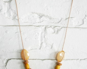 Upcycled Wooden Beads and Leather Necklace