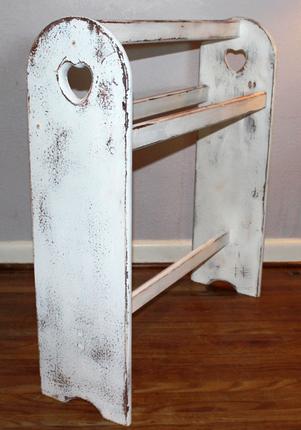 Cottage Chic Distressed Hand Painted White Washed Quilt Rack