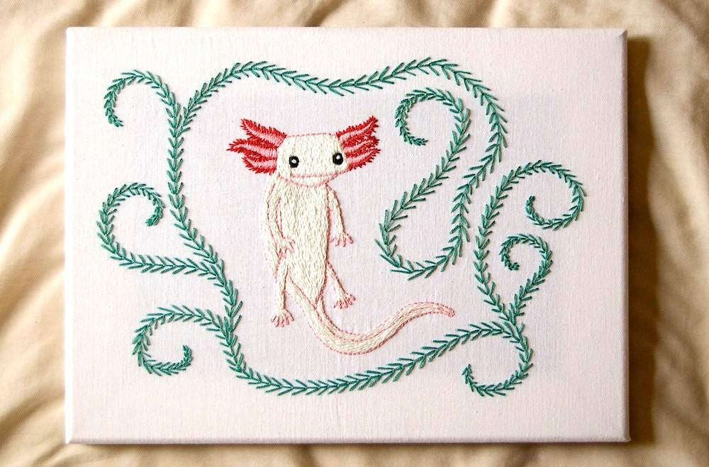 Pattern axolotl diy hand embroidery instant download