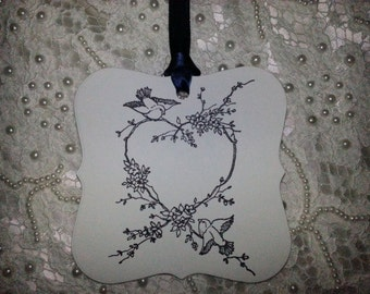 100 WEDDING WISH Tags Love Birds Adorned with Navy Blue Satin Ribbon