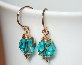 Stunning Swarovski Blue Zircon, Gold Wire-Wrapped Earrings - Unique Gift