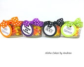 Personalized Halloween Party Favor, Halloween Mason Jars, Halloween Party Favors, Orange Black Purple Green Halloween Decorations, Set of 4