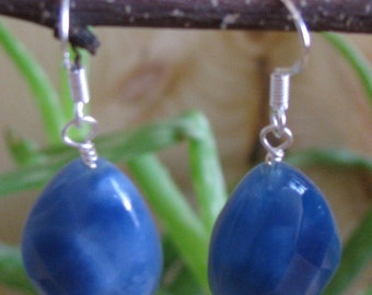 Blue Quartz and Sterling Silver Earrings, gift box