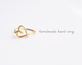 Gold Sideways Heart Ring, Heart Ring,  Love Ring, Bridesmaids Gifts, Mother Daughter Rings