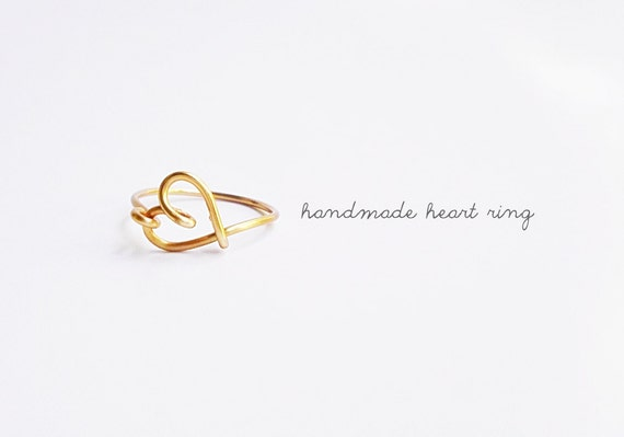 Gold Sideways Heart Ring Heart Ring Love Ring Bridesmaids