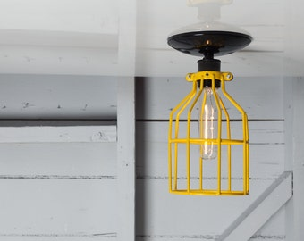 Industrial Ceiling Mount Light - Yellow Wire Cage Lighting