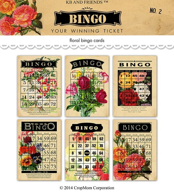 Digital romantic flower bingo cards