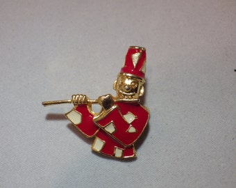 Vintage Pin Brooch Marching Band Flute Player Piccolo