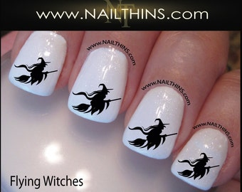 Witch Nail Decal Halloween Flying Witch on Broom Nail Art Nail Designs NAILTHINS
