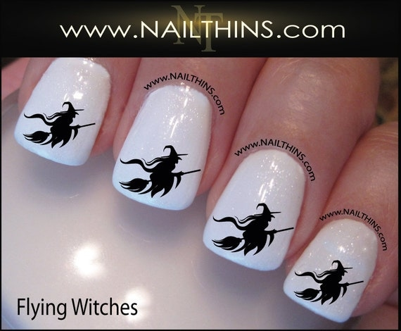 Witch Nail Decal Halloween Flying Witch on Broom Nail Art Nail