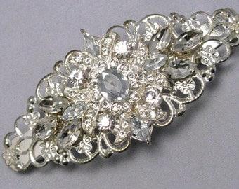 Crystal Rhinestone Barrette, Wedding Bridal Hair Barette, Silver Filigree Vintage Style Hair Clip, Something Blue, Bridesmaids Hair Gift