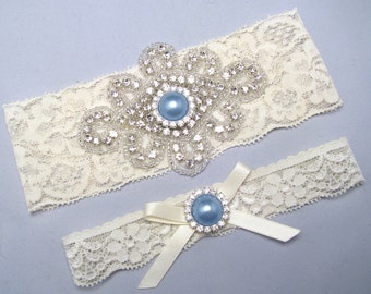 White / Ivory Lace Bridal Garter Set, Something Blue Wedding Garter, Crystal Rhinestone Keepsake / Toss Heirloom Garter, Blue Garter