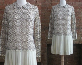 1960s Vicky Vaughn cream lace mod dress | 60's Mid Century Mod Millie