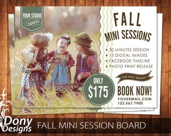 Instant download 5x7 summer marketing board photoshop fall mini session template photography marketing board photoshop template instant download buy 1 get maxwellsz
