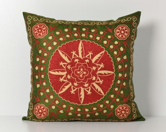 Silk Suzani Pillow - 20x20 Green Red Hand Embroidered Vintage Pillow - Decorative Pillows For Couch - Throw Pillow - Accent Pillow