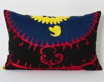 Suzani Pillows - 50 Years Old Vintage Decorative Suzani Pillows Throw Pillows Hand Embroidered Pillow Red Black Suzani Lumbar Pillow Cushion