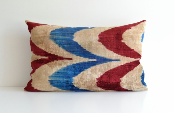 Eclectic Pillow Cases : Eclectic pillow ikat velvet pillow cover red blue by pillowme