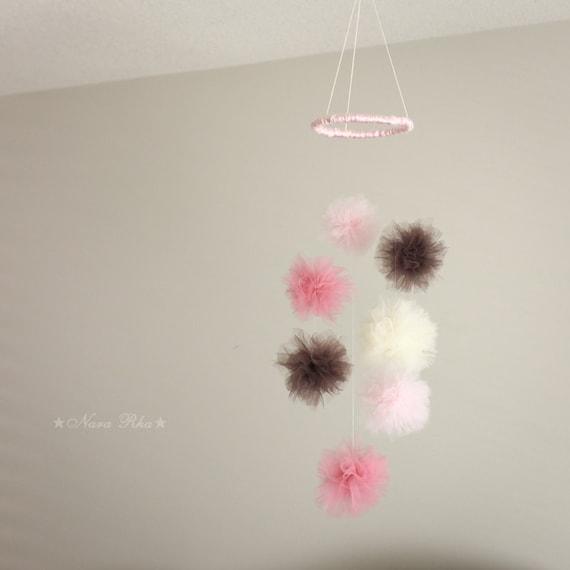 baby mobile nursery decor tulle pom poms mini mobile baby. Black Bedroom Furniture Sets. Home Design Ideas