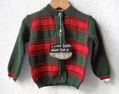 Farthing Wood - 1960's Green and Red Unisex Orlon Cardigan - Age 1 to 3 Years