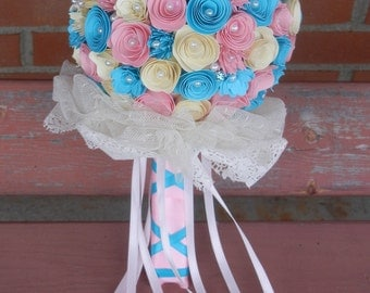 Large Handmade Paper Wedding Bouquet Bride or Bridesmaids Bouquet Pastel Pink, Turquoise, and Cream. Vintage Wedding Free Boutonniere
