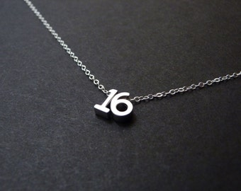 Sweet 16 necklace, 16th birthday party, sterling silver gift