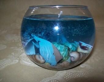 Fun Beach Fish Art gel Candle Seashells Housewares,Home Decor,Geekery,Ladies, Wedding, or Mens gift!