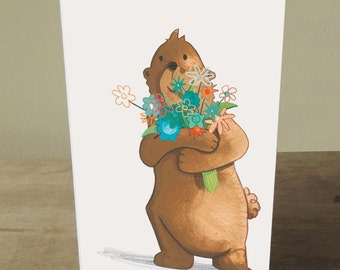 Illustrated Card: Hello Bear