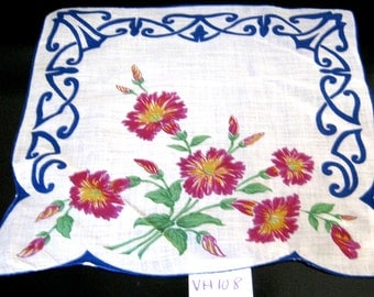 Vintage Floral Print Handkerchief,White Hanky with Pink/Fuchsia/Purple Flowers & Blue Border,Wedding Hanky,Flower Girl,Something Old or Blue