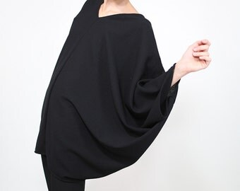 Black Tunic Top, Petrol Wool Top, Crepe Wool Top, Long Sleeve Short, Oversize Top, Plus Size Clothes, Maternity Clothes, Handmade