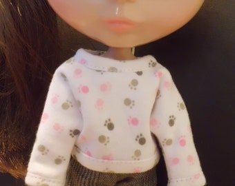 Blythe Doll Outfit Clothing Colorful Animal Foot Print White Loosen Tee