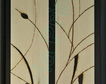 Cattails / Elegant Custom-Framed High Res Giclée Print / Solar Art - Solar Pyrography - Woodburned Art / Artist-Signed Limited Edition Print