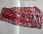 Vintage 100% Red Silk Scarf. Made in India. Very Fine Fabric