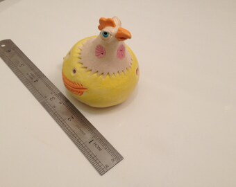 yellow chicken clay whistle