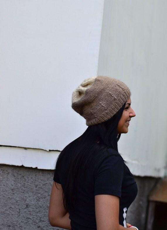Knit Warm Beanie Hat - Casual Slouch Beanie - Beige & White