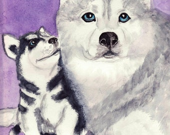 Huskies Mom and Puppy as ACEO, Print or Blank Greeeting Card from Original Watercolor