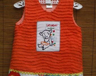 Size 6 Months Jumper Dress - Vintage Orange Chenille 6 Months Baby Dress - 6 Mths Vintage Chenille Dress - Days of Week Saturday Towel