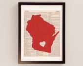 University of Wisconsin Dictionary Art Print - Madison Art - Print on Vintage Dictionary Paper - Wisconsin Badgers - I Heart Madison