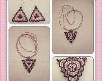 Set consists of necklace and earrings in beaded texture in three shades of purple