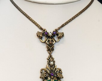 Antique Necklace - Antique 1920's Gold Filled and Glass Stone Necklace