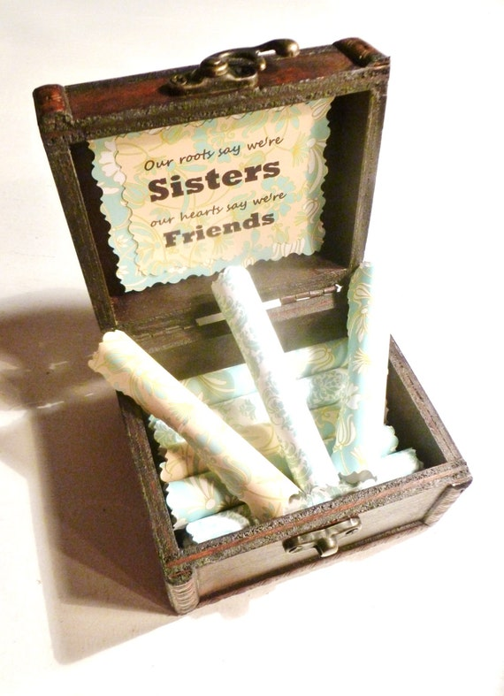 Sister Scroll Box, Wood Chest filled with Heartfelt Quotes About Sisters, Meaningful, Unique, Inspiring, Birthday, Christmas, Big Sister