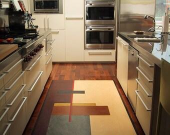 Turkish Tile Rug Inlay In Wood Floor Kitchen