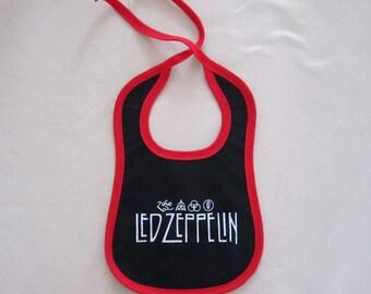 white and black, rock heavy metal baby bib, led zeppelin