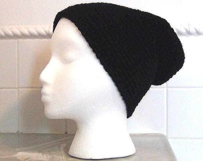 Black Slouch - Crocheted Slouchy Hat - Oversized Beanie - Fisherman Beanie