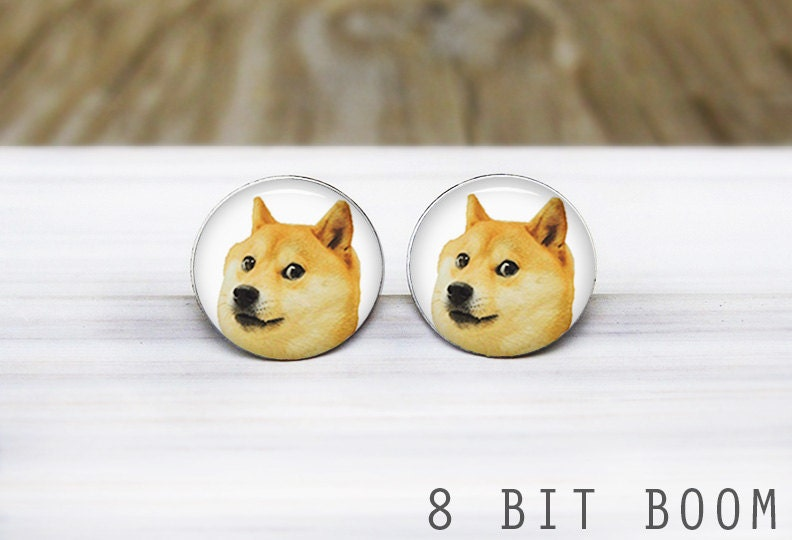 Doge Meme Earrings Handmade Hypoallergenic Silver Stud