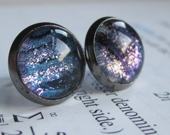 Isotope - Earring studs - science jewelry - science earring - galaxy jewelry - physics earrings - fake plugs - plug earrings - nebula stud