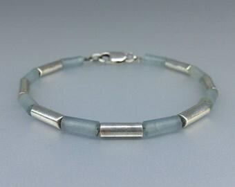 Aquamarine and Sterling silver bracelet - gift idea