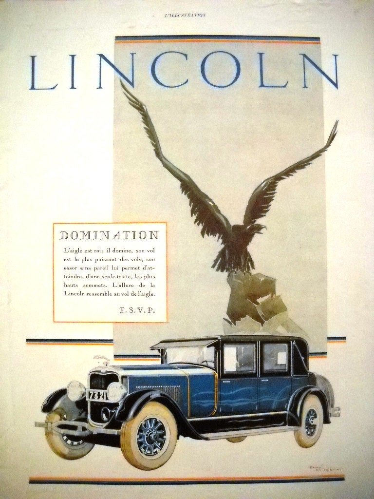 lincoln advertising original art deco advertisement vinatge. Black Bedroom Furniture Sets. Home Design Ideas
