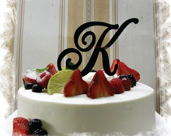 "Monogram Wedding Cake Topper - 5""or 6"" Beautiful Single Monogram letter Cake Topper ( Special Custom Made Initial Wedding Topper )"