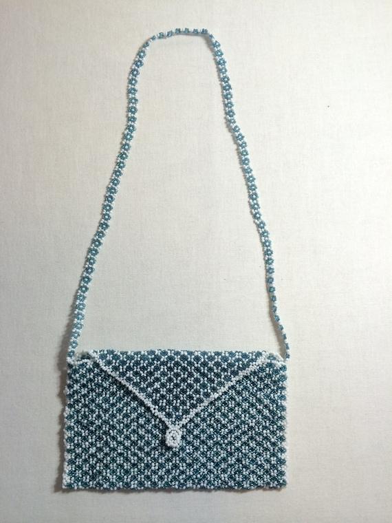 glass beaded handmade purse glass bead purse white blue