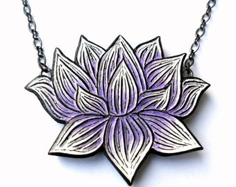 Purple Lotus Flower Necklace, Lotus Necklace, Lotus Statement Necklace, Lotus Jewelry, Purple Lotus Pendant, Gift for Wife, Daughter gift